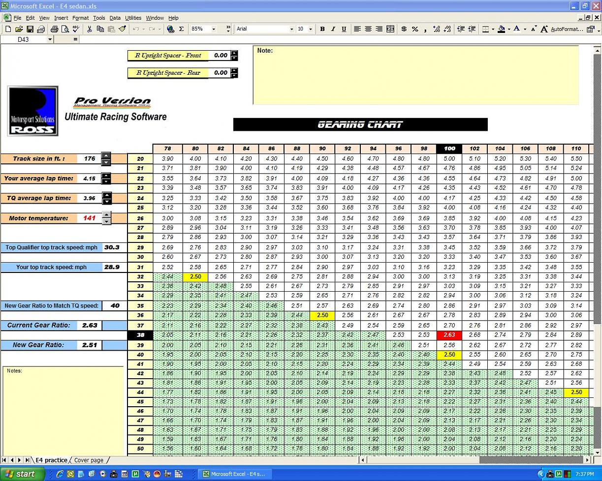 New E4 Excel Racing Software For Sedans