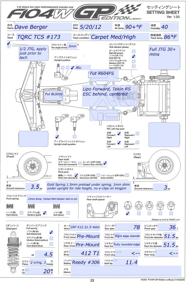 Tamiya F104 Setup Tamiya F104 Pro