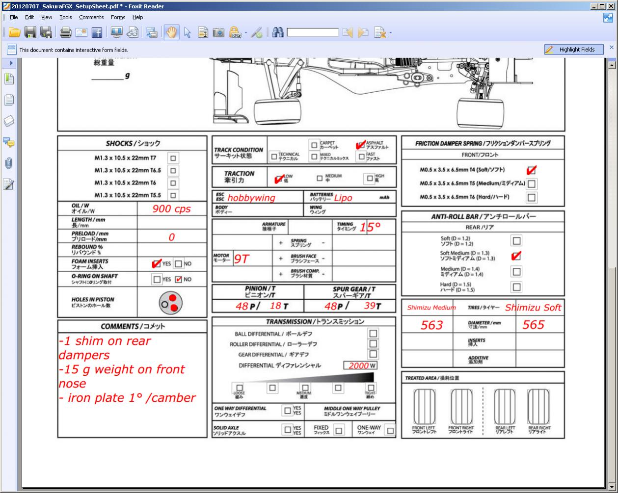 Race Car Chassis Setup Sheets – Billy Knight