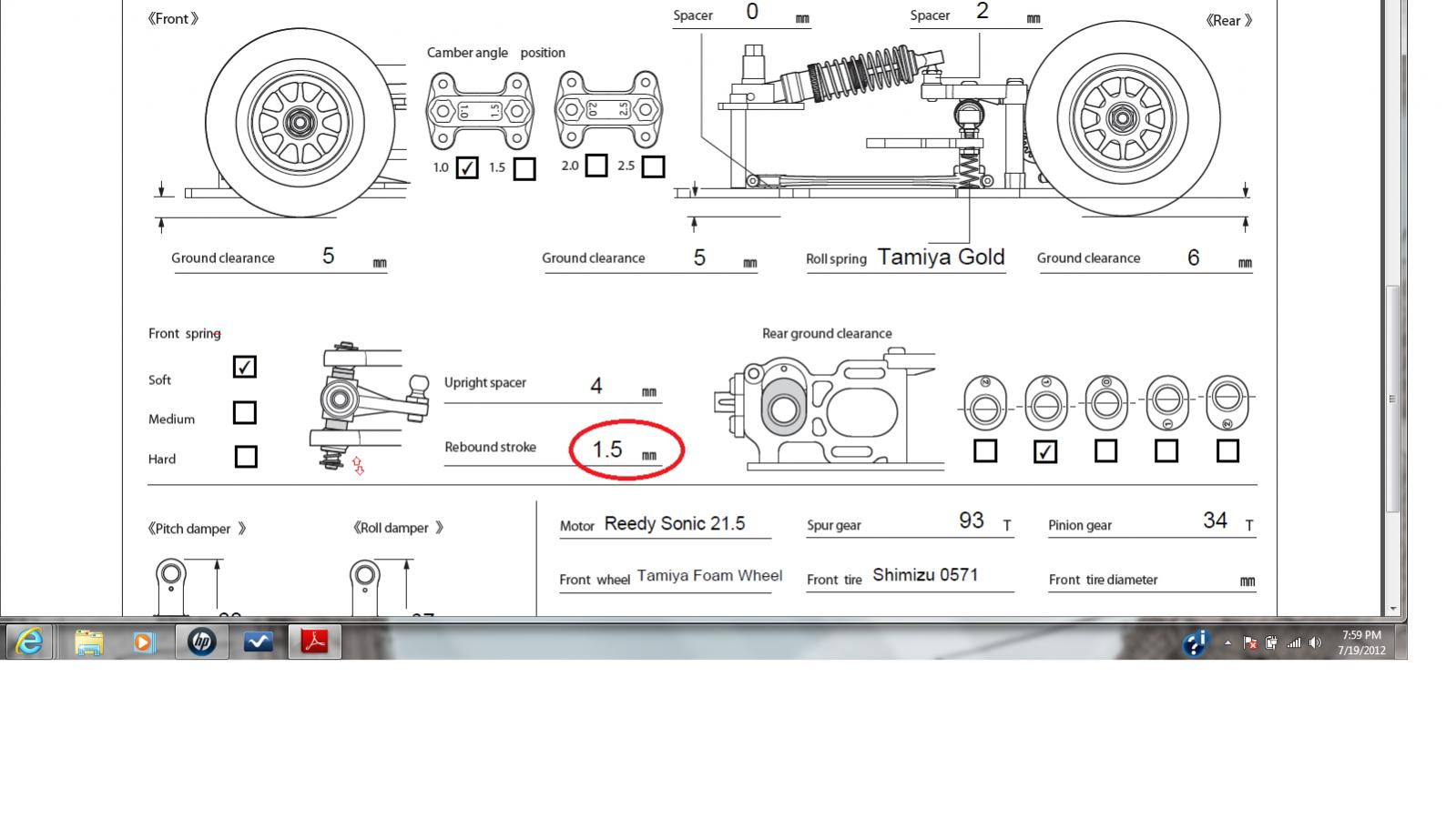 Tamiya F104 Setup Tamiya F104 Version