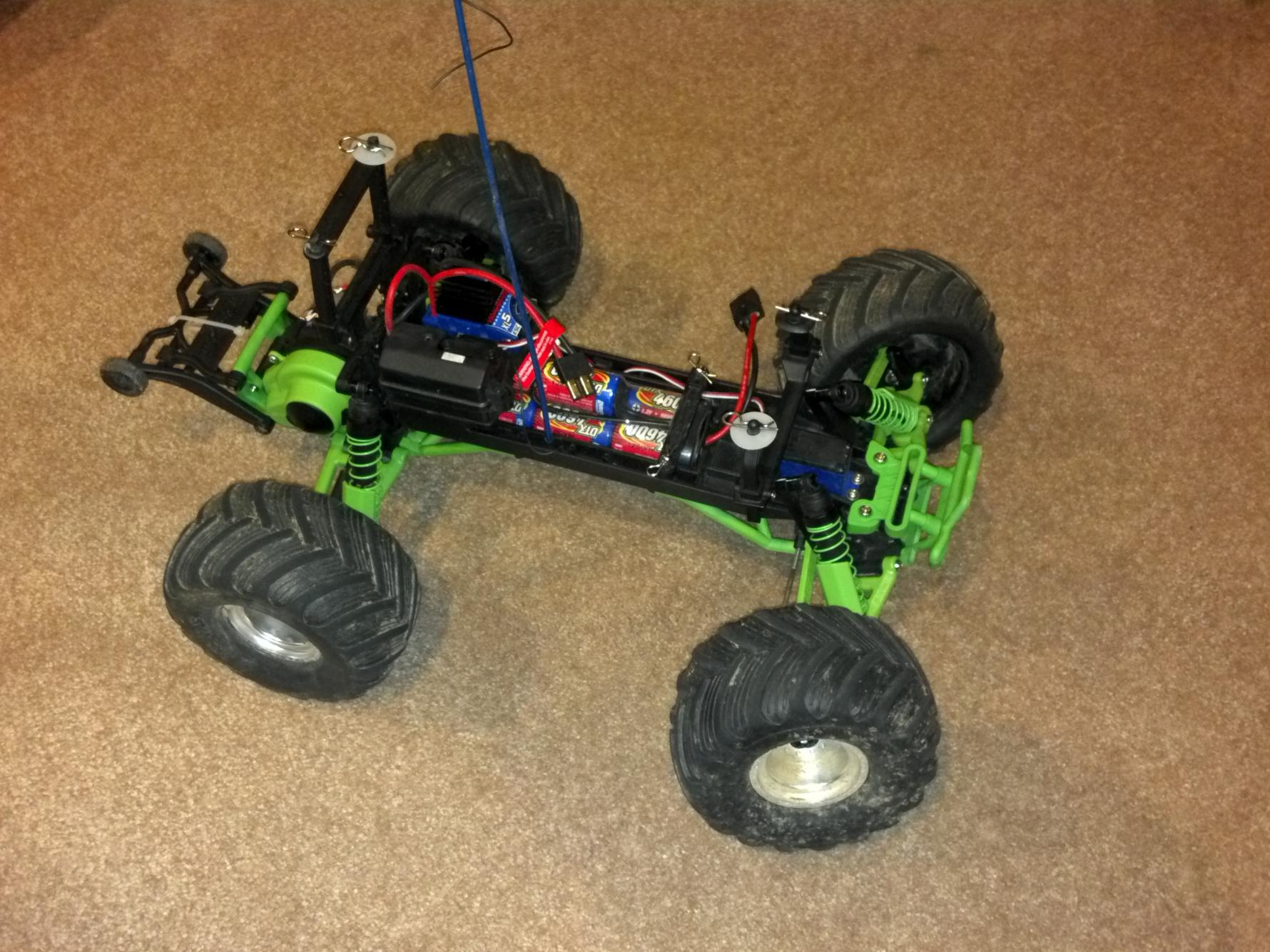 Traxxas Grave Digger Upgrade Project after rpm upgrades before bl upgrade