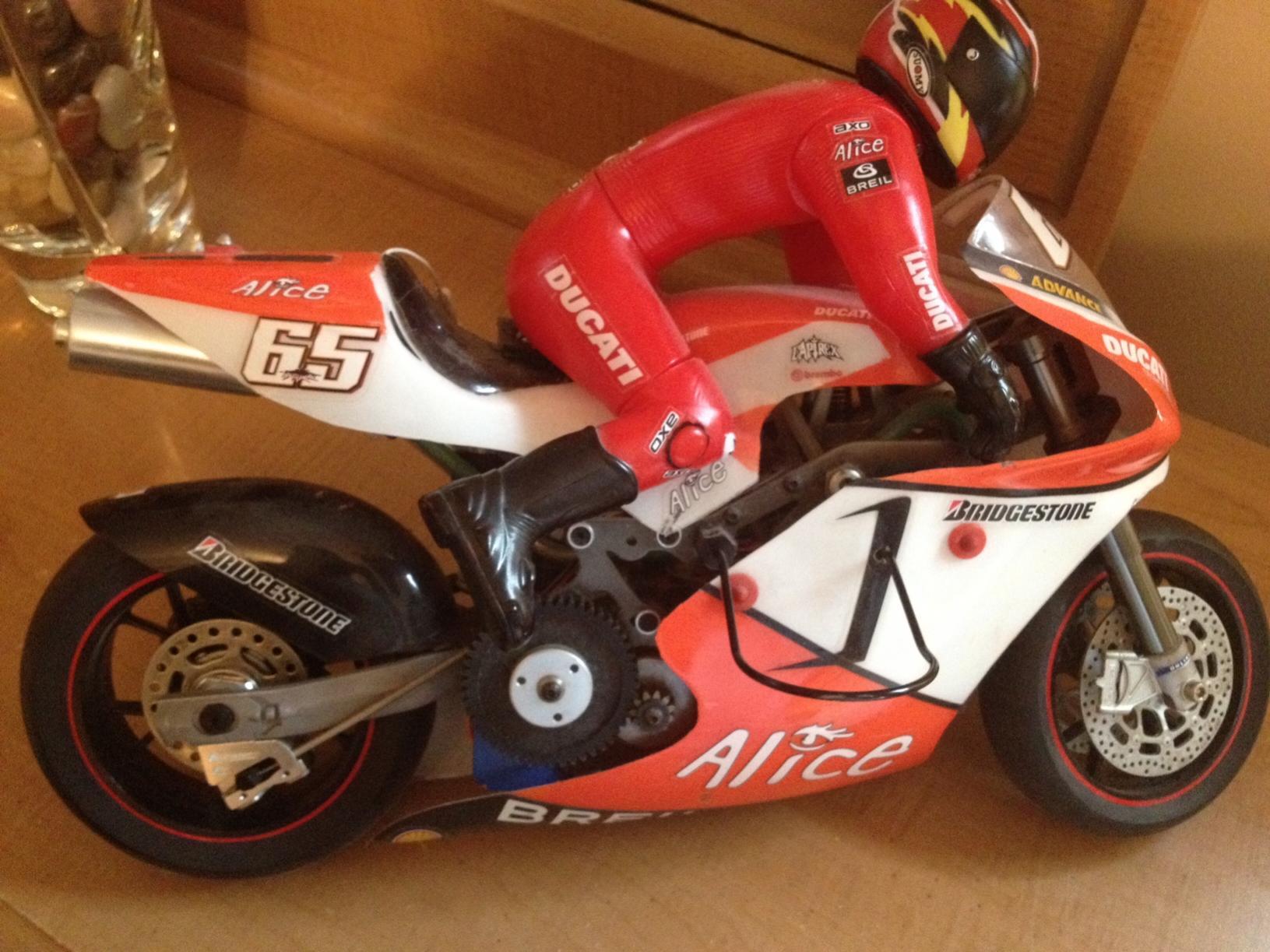 orange/white thunder tiger ducati 999r nitro motorcycle - r/c tech