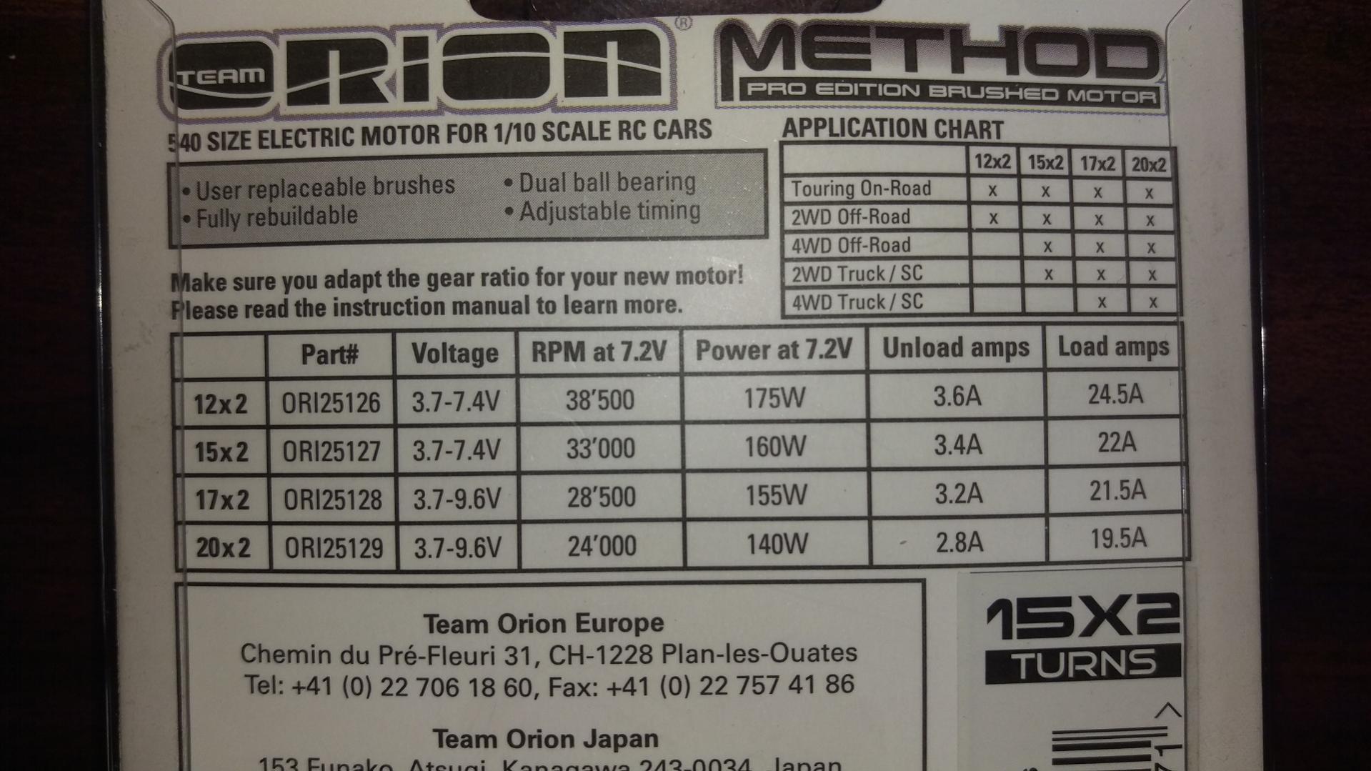 Novak Brushless Motor Chart