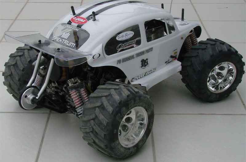 Rear view of FG Monster Beetle Pro showing wheely bar