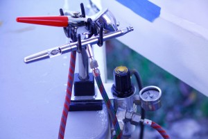 Airbrushes, pressure gauge, and moisture trap
